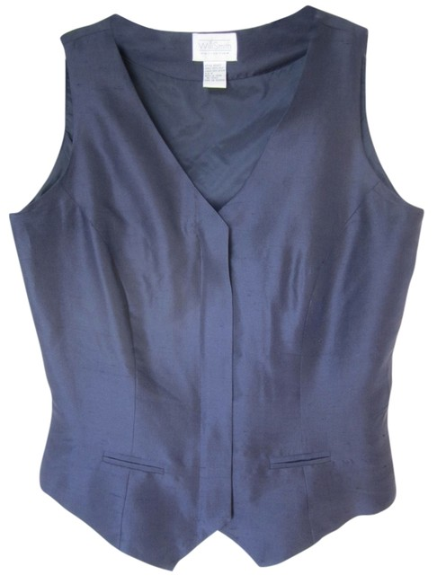 Willi Smith Waist Coat Vest Silk Silk Suit Sleeveless Business Attire Classic Fully Lined Top Navy
