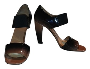 Prada Patent Leather Ombre Elastic Leather Sole Luxury Nude and Black, Brown Sandals