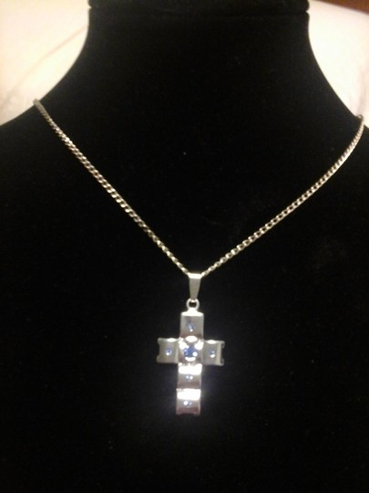 Unknown Cross Pendant with Blue Cubic Zirconia Accents and Matching Chain