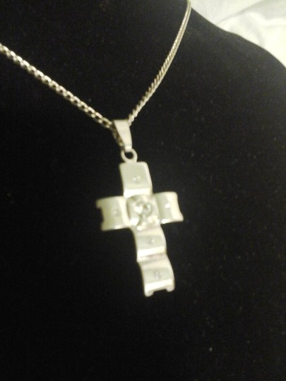 Unknown Cross Pendant with Crystal Cubic Zirconia Accents and Matching Chain