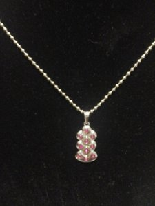 Other Abstract Silver tone Pendant with Pink Cubic Zirconia and Matching Chain