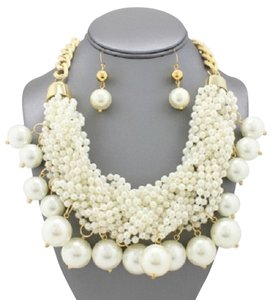 Other Multistrand Fringe Pearl Statement Necklace and Earrings