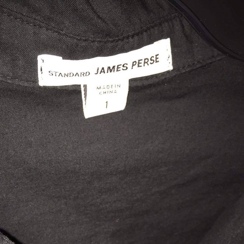 James Perse Black Contrast Ribbed Surplus Shirt 1 Button-down Top Size 2  (XS) 66% off retail