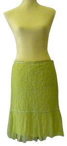 Blumarine Lace Pearl Embroidery Skirt light green