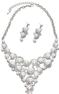 SOPHIA COLLECTION White Synthetic Pearl Clear Rhinestone Necklace & Post Earring Set