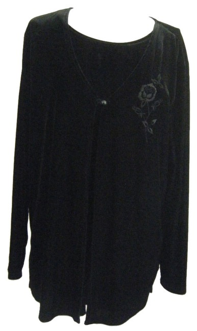 on sale Alfred Dunner 2fer 20w Stretch Velvet Attached Shell Embroidered Plus Eve Tunic