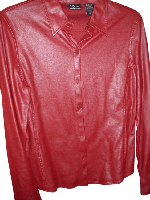 New York & Company Disco Cool Hip Trendy 80s Button Down Shirt wine