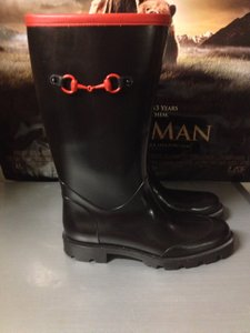 Gucci Rain black and red Boots