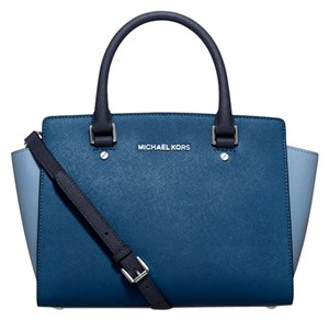 Michael Kors Satchel in Steel Blue/Sky