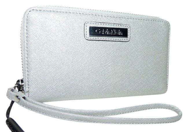 Item - Smoky Silver Clutch Saffiano Wallet/Clutch/Cell Phone Case Holder Wallet