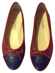 Chanel Ballet Ballerina Flat Shoe Red Burgundy Blue Navy Flats