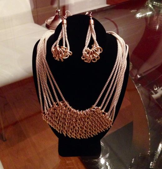 COS Gold Necklace W/matching Earrings