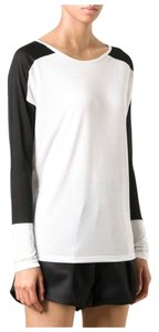 Vince Coloblock Slub T Shirt Black and White