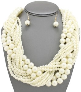 Other Chunky Oversized Braided Pearl Statement Necklace and Earrings