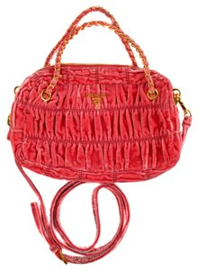 Prada Velvet Gaufre Pleated Tote Shoulder Bag