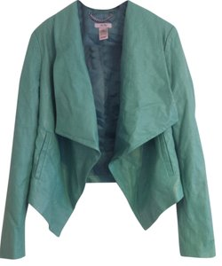 Cache Draping Angles Stylish Trendsetting Trendy Chich Edgy Teal Leather Jacket