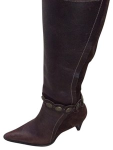 Bakers Chocolate Brown Gold Button Detail Boots