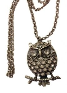 Rhinestone Encrusted Owl Pendant Necklace