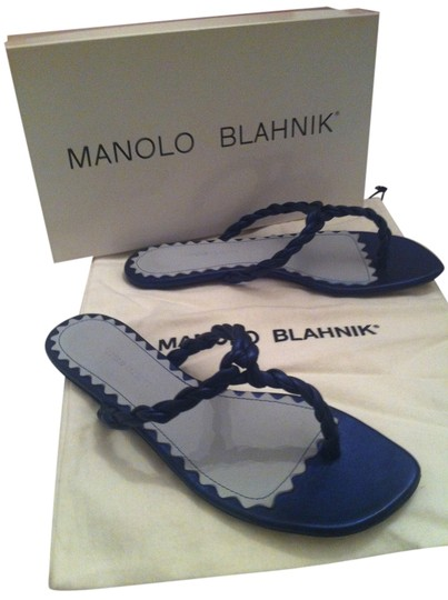 Manolo Blahnik Braided Navy Blue metallic Sandals