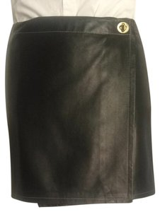 Coach Vintage Buckle Leather Mini Skirt Black