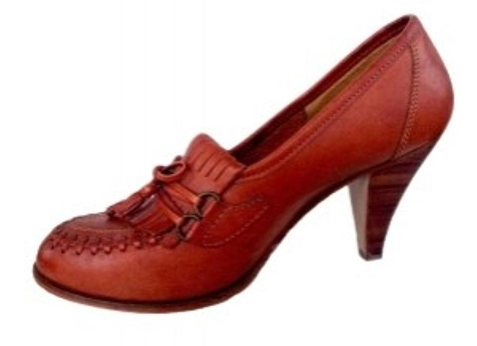 5a6d9ef5dce03 Carlos by Carlos Santana Brown Leather Penny Loafer with 3 Inch Stacked  Wood Heel 70's Boho Style Warm Chestnut Pumps Size US 6.5 80% off retail