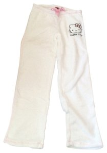 HELLO KITTY Lounge Pjs Small Polyester Ladies Women Straight Pants WHITE