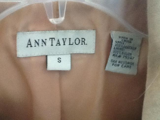 Ann Taylor Suede Leather Cropped Tan Leather Jacket