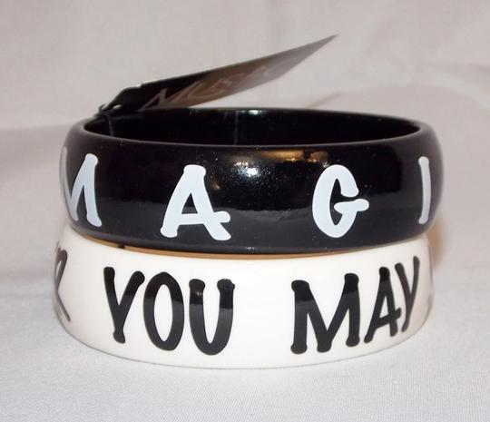 Music Culture Music Culture Imagine Black White Resin Bangle Bracelet Set of Two New