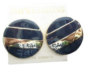 Impression Bridal Impressions, Navy w/Gold Pierced Earrings