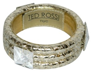 Ted Rossi Ted Rossi NYC Gold Silver Tone Snakeskin Leather Bangle Bracelet