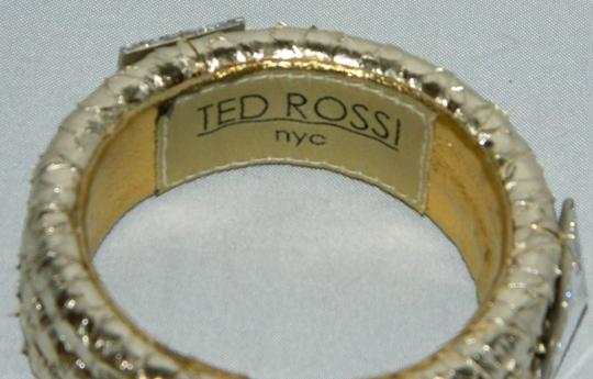 Ted Rossi Ted Rossi NYC Gold Silver Tone Snakeskin Leather Bangle Bracelet NEW