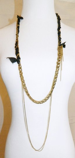Candace Ang Candace Ang Chain Ribbon Necklace Multi Media Long Gold Tone Chains