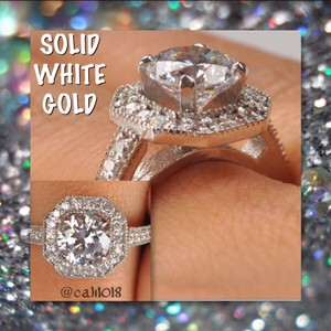 New 3.40 Tcw Solid White Gold Flawless Manmade Diamond Engagement/wedding Ring Sz 7