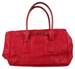Chanel Travel Lax Quilted Leather Red Travel Bag