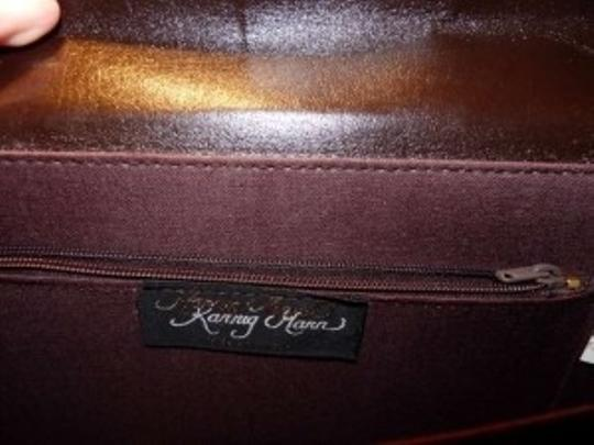 Karnig Mann Vintage Faux Croc Briefcase Brown & Black (cocoa) Messenger Bag