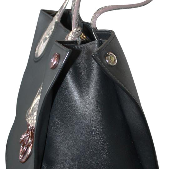 Dior Christian Leather Python Tote in Black