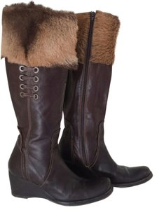 Apepazza Fur Leather Leather Wedge Heel Persefone Sale Under 75. Brown Boots