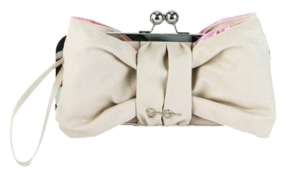 bdcc640a525 Jessica Simpson Bow Silver Hardware Cream/Vintage Pink Clutch Image 0