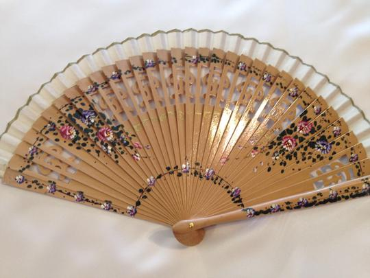 Other Hand Painted Spanish Fan; Tan Varnish - [ Roxanne Anjou Closet ]