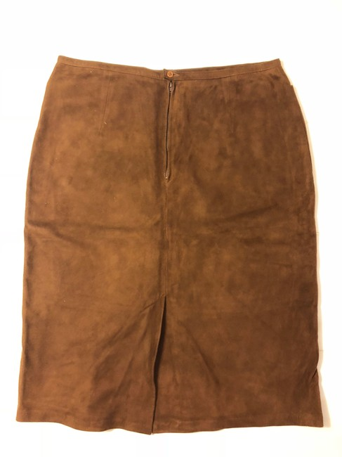 Roberta Freyman Retro Suede Soft Leather Tailored Leather Skirt Mahogany Brown