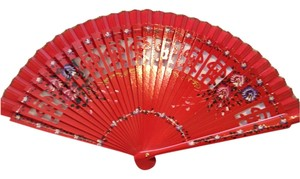 Hand Painted Spanish Fan; Red Varnish - [ Roxanne Anjou Closet ]