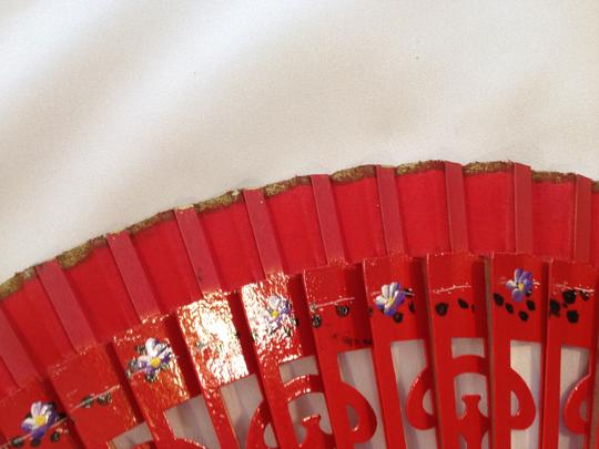Other Hand Painted Spanish Fan; Red Varnish - [ Roxanne Anjou Closet ]
