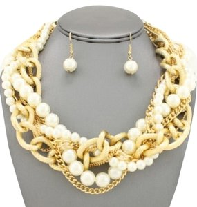 Alle Braided Gold Link Chain Chunky Pearl Necklace and Earrings
