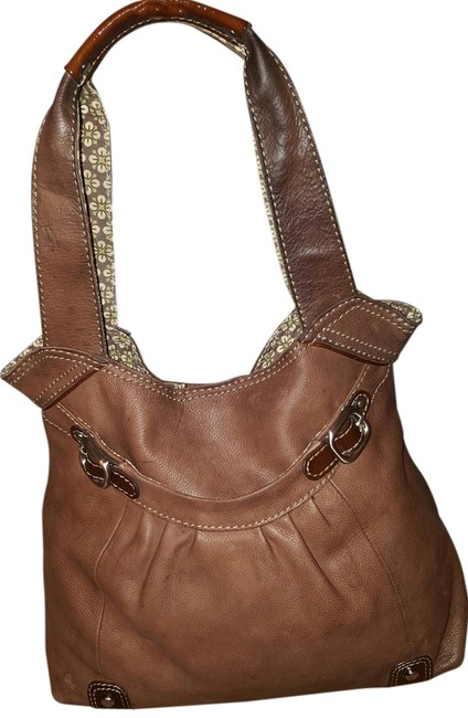 Item - Brown with Green Printed Interior Leather Shoulder Bag