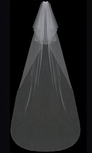 EnVogue Bridal Two Layer Cathedral Wedding Veil In White