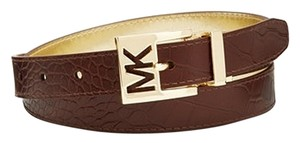 Michael Kors Belt Reversible Croco Embossed to Metallic - S - Chocolate to Gold