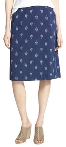 Eileen Fisher Ikat Petal Midnight Organic Skirt NAVY PRINT