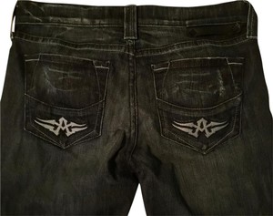 Affliction Ziggy Edgy Flare Leg Jeans-Dark Rinse