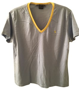 Ralph Lauren V-neck Relaxed Cotton T Shirt Blue/Yellow