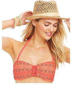 Hula Honey Hula Honey Women's Lace-Up Front Printed Bandeau Bikini Top Small No Strap